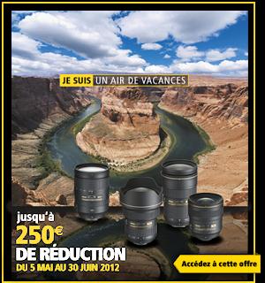Liens vers les promotions Nikon sur les objectifs, jusqu'à 250€